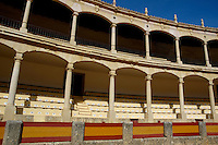 Empty seating at Plaza de Toros de Ronda, a bullring arena in Ronda, Andalusia, Spain.