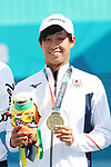 Toshiki Uematsu (JPN), <br /> AUGUST 30, 2018 - Soft Tennis : <br /> Mixed Doubles  Medal ceremony<br /> at Jakabaring Sport Center Tennis Courts <br /> during the 2018 Jakarta Palembang Asian Games <br /> in Palembang, Indonesia. <br /> (Photo by Yohei Osada/AFLO SPORT)