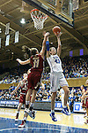 27 January 2013: Duke's Allison Vernerey (FRA) (43) shoots a layup over Boston College's Nicole Boudreau (11). The Duke University Blue Devils played the Boston College Eagles at Cameron Indoor Stadium in Durham, North Carolina in an NCAA Division I Women's Basketball game. Duke won the game 80-56.