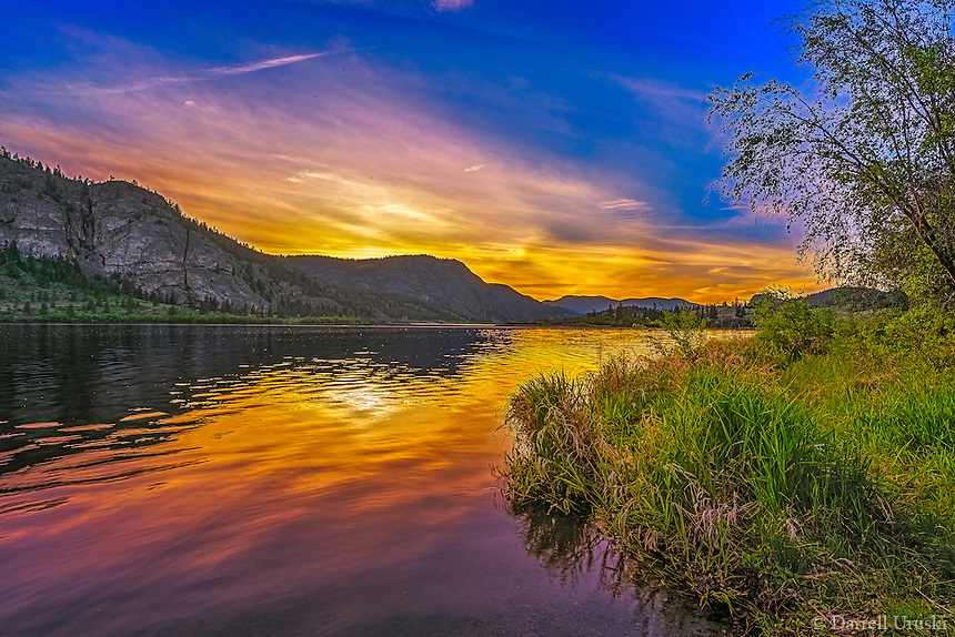Fine Art Art Print Mountain and Lake Scenic of a sunset at Vaseux Lake in British Columbia, Canada.