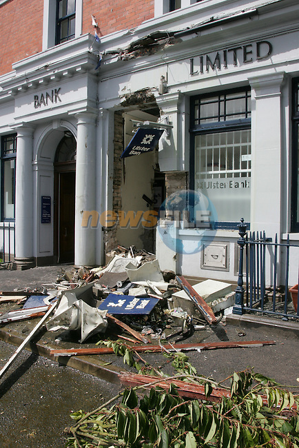 A New meaning for a hold in the wall..Thieves removed the ATM machine from the Ulster bank in Athboy Co Meath using a hydrolic digger, and leaving the front of the bank in runes..Photo: Fran Caffrey/www.newsfile.ie...