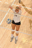 Stanford, CA - OCTOBER 31:  Outside hitter Erin Waller #12 of the Stanford Cardinal during Stanford's 25-22, 25-23, 25-18 win against the Washington Huskies on October 31, 2008 at Maples Pavilion in Stanford, California.