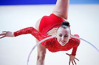 ANNA RIZATDINOVA of Ukraine performs with hoop at 2016 European Championships at Holon, Israel on June 18, 2016.
