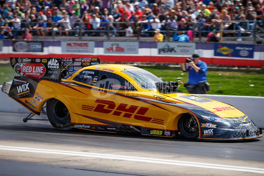 May 6, 2017; Commerce, GA, USA; NHRA funny car driver J.R. Todd during qualifying for the Southern Nationals at Atlanta Dragway. Mandatory Credit: Mark J. Rebilas-USA TODAY Sports