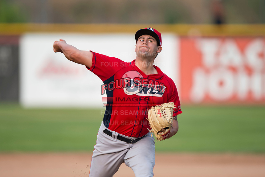 Orem Owlz relief pitcher Johnny Morell (18) delivers a pitch during a Pioneer League game against the Missoula Osprey at Ogren Park Allegiance Field on August 19, 2018 in Missoula, Montana. The Missoula Osprey defeated the Orem Owlz by a score of 8-0. (Zachary Lucy/Four Seam Images)