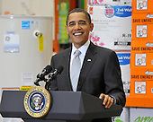 Alexandria, VA - December 15, 2009 -- United States President Barack Obama smiles as he discusses the economic impact of energy saving home retrofits with labor, manufacturing, and small business leaders during remarks at a Northern Virginia Home Depot store in Alexandria, Virginia on Tuesday, December 15, 2009..Credit: Ron Sachs - Pool via CNP