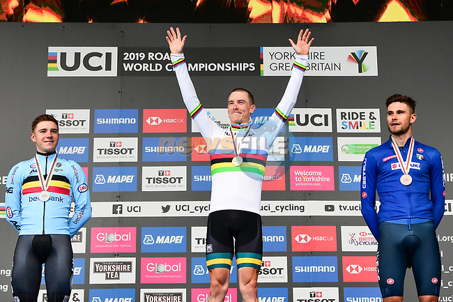 The final podium, silver Remco Evenepoel of Belgium, gold and World Champion Australia's Rohan Dennis and bronze Filippo Ganna of Italy, of the Men Elite Individual Time Trial of the UCI World Championships 2019 running 54km from Northallerton to Harrogate, England. 25th September 2019.<br /> Picture: Alex Broadway/SWpix.com | Cyclefile<br /> <br /> All photos usage must carry mandatory copyright credit (© Cyclefile | Alex Broadway/SWpix.com)