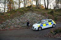 Pictured: Police near the scene of a suspected house fire in Llangammarch Wells, mid Wales, UK<br /> Re: People are feared to have died in a serious house fire in Powys, Wales.<br /> Four fire crews were called to the property near Llangammarch Wells, between Llanwrtyd Wells and Builth Wells, just after midnight on Monday.<br /> Mid and West Wales Fire and Rescue Service said the blaze was &quot;well developed&quot; when firefighters arrived at the scene.<br /> It is not known how many people may have been inside the house at the time of the blaze.<br /> A Welsh Ambulance Service spokesman said it sent its Hazardous Area Response Team, as well as four crews in emergency ambulances and an ambulance officer to the scene.