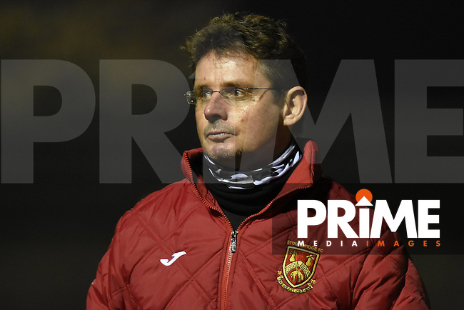 Stourbridge manager Gary Hackett during the FA Cup 1st round replay match between Stourbridge and Whitehawk  at the War Memorial Athletic Ground, Stourbridge, England on 14 November 2016. Photo by Garry Griffiths.