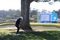 Jon Rahm (ESP) chips from behind the tree at the 18th green at Pebble Beach course during Friday's Round 2 of the 2018 AT&amp;T Pebble Beach Pro-Am, held over 3 courses Pebble Beach, Spyglass Hill and Monterey, California, USA. 9th February 2018.<br /> Picture: Eoin Clarke | Golffile<br /> <br /> <br /> All photos usage must carry mandatory copyright credit (&copy; Golffile | Eoin Clarke)
