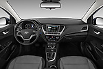 Stock photo of straight dashboard view of a 2018 Hyundai Accent Limited 4 Door Sedan