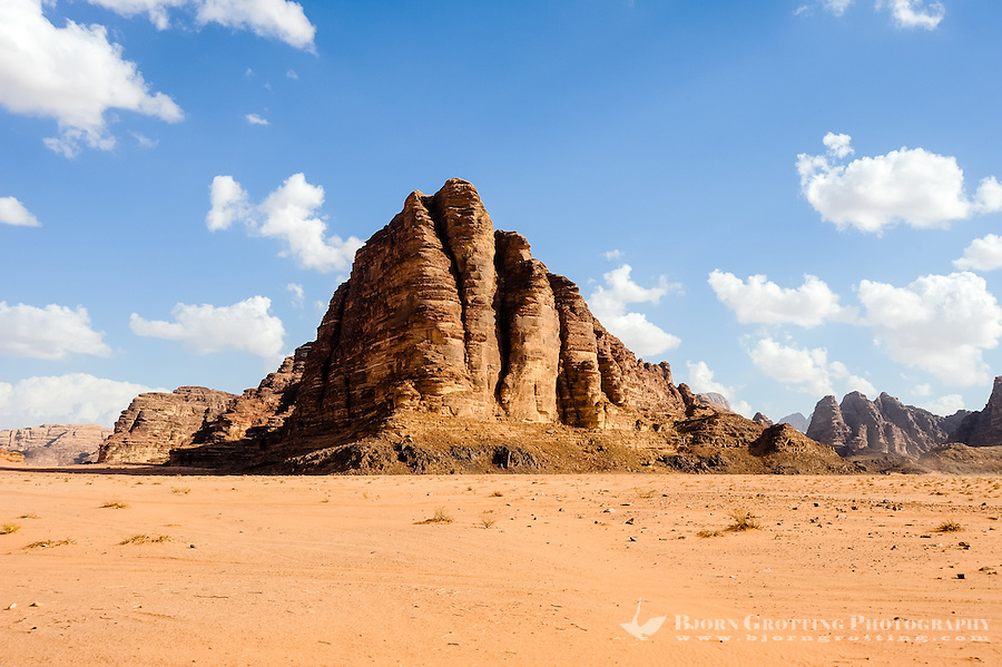 Jordan. Wadi Rum is also known as The Valley of the Moon. This mountain is called the Seven Pillars of Wisdom.