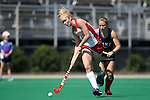 02 October 2016: Boston's Hester Van Der Laan (NED) (13) is chased by Duke's Heather Morris (behind). The Duke University Blue Devils hosted the Boston University Terriers at Jack Katz Stadium in Durham, North Carolina in a 2016 NCAA Division I Field Hockey match. Duke won the game 2-1.