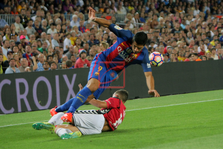 League Santander 2016/2017. Game: 3.<br /> FC Barcelona vs Deportivo Alaves: 1-2.<br /> Luis Suarez vs Theo.
