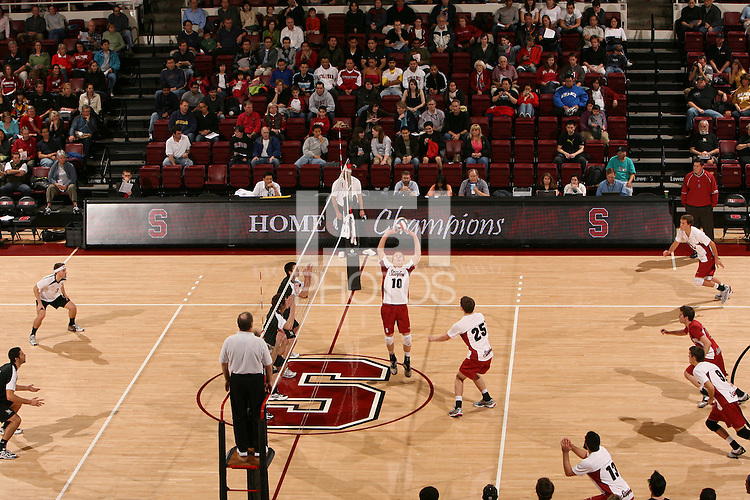 STANFORD, CA - JANUARY 30:  Evan Barry of the Stanford Cardinal during Stanford's 3-2 win over the Long Beach State 49ers on January 30, 2009 at Maples Pavilion in Stanford, California. Also pictured is Spencer McLachlin, Jarod Keller, Gus Ellis, Brad Lawson and Jason Palacios.