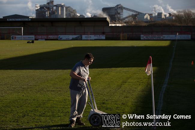 Witton Albion 1 Warrington Town 2, 26/12/2017. Wincham Park, Northern Premier League. A groundsman lines the pitch at Wincham Park, home of Witton Albion before their Northern Premier League premier division fixture with Warrington Town. Formed in 1887, the home team have played at their current ground since 1989 having relocated from the Central Ground in Northwich. With both team chasing play-off spots, the visitors emerged with a 2-1 victory, the winner being scored by Tony Gray in second half injury time, watched by a crowd of 503. Photo by Colin McPherson.