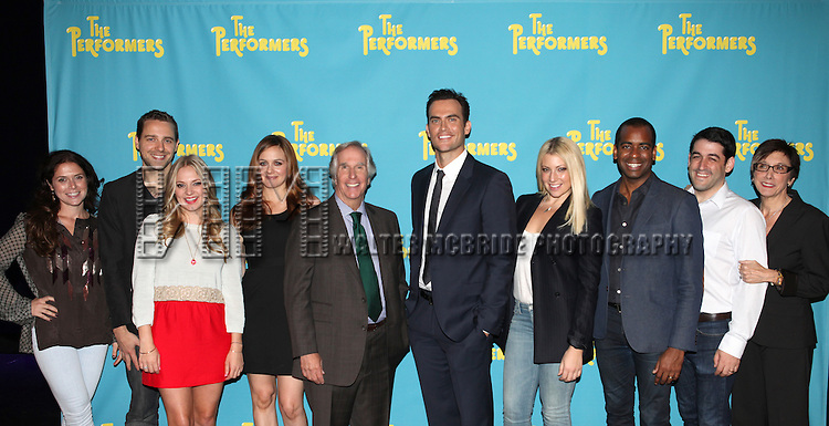 """The cast and creative team of """"The Performers"""", from left, producer Amanda Lipitz, playwright David West Read, actress Jenni Barber, actress Alicia Silverstone, actor Henry Winkler, actor Cheyenne Jackson, actress Ari Graynor, actor Daniel Breaker, director Evan Cabney and producer Robyn Goodman attends press event to introduce the cast and creators of the new Broadway play """"The Performers""""at the Hard Rock Cafe on Tuesday, Sept. 25, 2012 in New York."""