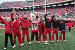 "Wisconsin Badgers mascot Bucky Badger and his crew sing ""Varsity"" after an NCAA college football game against the Indiana Hoosiers on November 13, 2010 at Camp Randall Stadium in Madison, Wisconsin. The Badgers won 83-20. (Photo by David Stluka)"