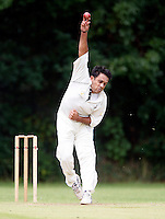 M Hassanain bowls for Harrow during the Middlesex County League Division two game between Highgate and Harrow at Park Road, Crouch End on Sat Jun 25, 2011