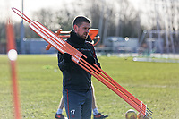 Pictured: Scot Bennett carries one of the manequins. Thursday 18 January 2018<br /> Re: Players and staff of Newport County Football Club prepare at Newport Stadium, for their FA Cup game against Tottenham Hotspur in Wales, UK