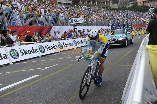 Astana team rider Yaroslav Popovych (UKR) passes beneath the packed grandstands on his way to the finish line the Prologue Stage 1 of the 2009 Tour de France a 15.5km individual time trial held around Monaco. 4th July 2009 (Photo by Eoin Clarke/NEWSFILE)