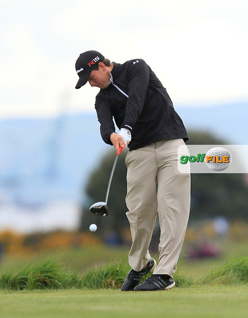 Evan Griffith (Wales) on the 3rd tee during Round 3 of the Irish Amateur Open Championship at Royal Dublin on Saturday 9th May 2015.<br /> Picture:  Thos Caffrey / www.golffile.ie
