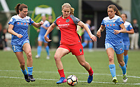 Portland, OR - Saturday April 29, 2017: Lindsey Horan, Arin Gilliland, Sofia Huerta during a regular season National Women's Soccer League (NWSL) match between the Portland Thorns FC and the Chicago Red Stars at Providence Park.