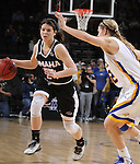 SIOUX FALLS, SD - MARCH 7:  Macy Miller #12 of South Dakota State defends against Bobbi Beckwith #24 of Omaha in the 2016 Summit League Tournament.  (Photo by Dick Carlson/Inertia)