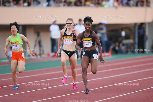 (L to R) <br /> Anna Doi, <br /> Melissa Breen (AUS), <br /> Tianna Bartletta (USA), <br /> MAY 11, 2014 - Athletics : <br /> IAAF World Challenge <br /> Seiko Golden Grand Prix 2014 Tokyo <br /> Women's 100m Final <br /> at National Stadium, Tokyo, Japan. <br /> (Photo by YUTAKA/AFLO SPORT)