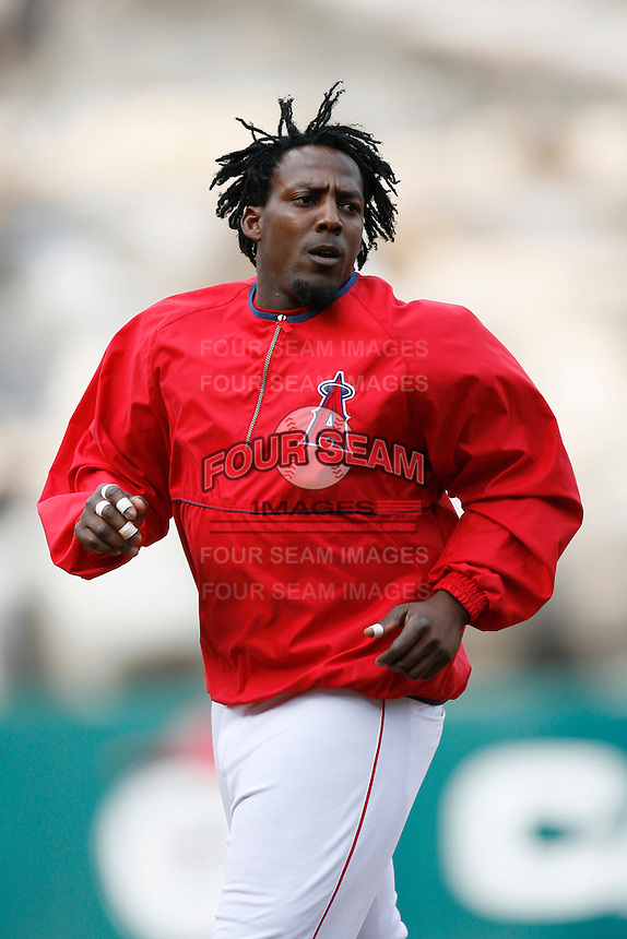 Vladimir Guerrero of the Los Angeles Angels during batting practice before a 2007 MLB season game at Angel Stadium in Anaheim, California. (Larry Goren/Four Seam Images)
