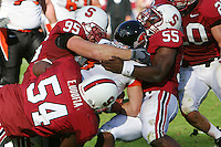 18 November 2006: Chris Horn, Ekom Udofia and Michael Okwo during Stanford's 30-7 loss to Oregon State at Stanford Stadium in Stanford, CA.