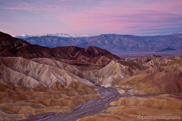Sunrise over Zabriskie Point and the Panamint Range, Death Valley, California