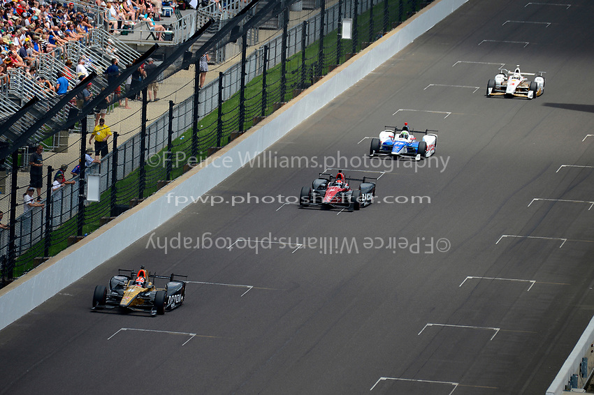 Verizon IndyCar Series<br /> Indianapolis 500 Race<br /> Indianapolis Motor Speedway, Indianapolis, IN USA<br /> Sunday 28 May 2017<br /> James Hinchcliffe, Schmidt Peterson Motorsports Honda, Mikhail Aleshin, Schmidt Peterson Motorsports Honda, Jay Howard, Schmidt Peterson Motorsports Honda, Helio Castroneves, Team Penske Chevrolet<br /> World Copyright: F. Peirce Williams<br /> LAT Images
