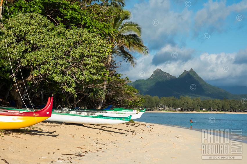 Hawaiian outrigger canoes on Waimanalo Beach, Waimanalo, Windward O'ahu.