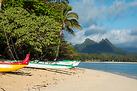 Hawaiian outrigger canoes on Waimanalo Beach, Waimanalo, Windward O'ahu.