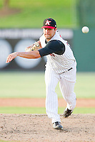 Relief pitcher Wes Whisler #33 of the Kannapolis Intimidators in action against the Lakewood BlueClaws at Fieldcrest Cannon Stadium on July 17, 2011 in Kannapolis, North Carolina.  The BlueClaws defeated the Intimidators 4-3.   (Brian Westerholt / Four Seam Images)