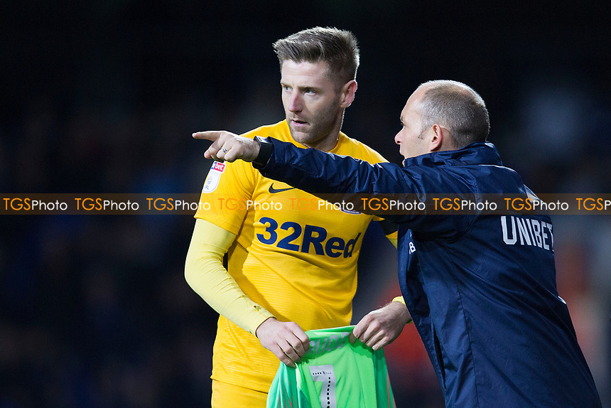 Goal scorer turned goalstopper Paul Gallagher of Preston North End takes the shirt and instruction from Alex Neil, Manager of Preston North End following Chris Maxwell's sending off during Ipswich Town vs Preston North End, Sky Bet EFL Championship Football at Portman Road on 3rd November 2018