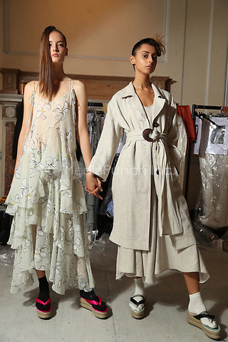 Isa Arfen<br /> backstage at fashion show at London Fashion Week<br /> Spring Summer 2018<br /> in London, England in September 2017.<br /> CAP/GOL<br /> &copy;GOL/Capital Pictures /MediaPunch ***NORTH AND SOUTH AMERICAS ONLY***