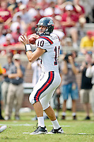 September 04, 2010:    Samford Bulldogs quarterback Dustin Taliaferro (10) drops back to pass during first half action between the Florida State Seminoles and the Samford Bulldogs at Doak Campbell Stadium in Tallahassee, Florida. Florida State defeated Samford 59-6.