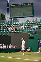 London, England, 2 July, 2016, Tennis, Wimbledon, Kei Nishikori (JAP) asking for a hawkeye in his match against Andrey Kuznetsov (RUS)<br /> Photo: Henk Koster/tennisimages.com