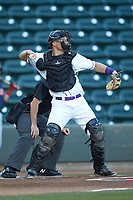 Winston-Salem Dash catcher Nate Nolan (15) throws the ball back to his pitcher during the game against the Salem Red Sox at BB&T Ballpark on April 20, 2018 in Winston-Salem, North Carolina.  The Red Sox defeated the Dash 10-3.  (Brian Westerholt/Four Seam Images)