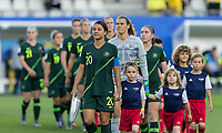 GRENOBLE, FRANCE - JUNE 18: Sam Kerr #20 of the Australian National Team leads the team out. during a game between Jamaica and Australia at Stade des Alpes on June 18, 2019 in Grenoble, France.