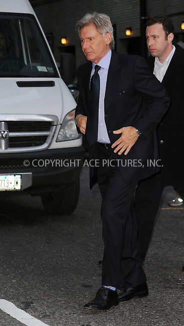 WWW.ACEPIXS.COM . . . . . ....January 21 2010, New York City....Actor Harrison Ford made an appearance at 'The Late Show with David Letterman' on January 21 2010....Please byline: KRISTIN CALLAHAN - ACEPIXS.COM.. . . . . . ..Ace Pictures, Inc:  ..tel: (212) 243 8787 or (646) 769 0430..e-mail: info@acepixs.com..web: http://www.acepixs.com