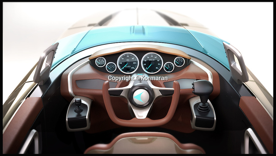 BNPs.co.uk (01202 558833)<br /> Pic: Kormaran/BNPS<br /> <br /> ***Please Use Full Byline***<br /> <br /> The driving controls of the boat. <br /> <br /> James Bond eat your heart out - the world's first 'shapeshifting' powerboat has been unveiled after receiving backing from legendary sports car makers Porsche.<br /> <br /> The Kormaran might at first glance appear to be a standard speedboat, but at the touch of a button the incredible design allows it to radically transform itself into six different shapes.<br /> <br /> It is the result of eight years of research and design, and has been part-funded by Daniell Porsche, great-grandson of Porsche founder Ferdinand Porsche.<br /> <br /> Unsurprisingly it comes with a whopping €1 million plus VAT - which works out around £900,000.