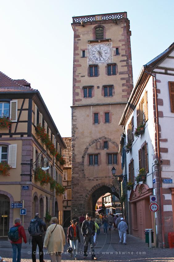 main street tour des bouchers butchers' tower ribeauville alsace france