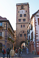 main street tour des bouchers butchers' tower ribeauville alsace france