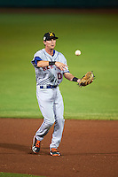 Salt River Rafters second baseman Jeff McNeil (10) throws to first during an Arizona Fall League game against the Scottsdale Scorpions on October 14, 2015 at Scottsdale Stadium in Scottsdale, Arizona.  Scottsdale defeated Salt River 13-3.  (Mike Janes/Four Seam Images)