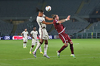 Chris Smalling of AS Roma and Lyanco of Torino FC compete for the ball during the Serie A football match between Torino FC and AS Roma  at Olimpico stadium in Roma (Italy), July 29th, 2020. Play resumes behind closed doors following the outbreak of the coronavirus disease. Photo Gino Mancini / Insidefoto