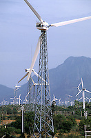 INDIA, Tamil Nadu, Kanyakumari, Cape Comorin, Muppandal, windfarm with Vestas wind turbine on lattice steel tower / INDIEN Kanniyakumari, Kap Komorin, Windpark mit Vestas Windkraftanlagen auf Stahlgittermast