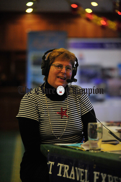 American radio host Stephanie Abrams broadcasts live from the National Tourism Conference at the Falls Hotel, Ennistymon. Photograph by Declan Monaghan